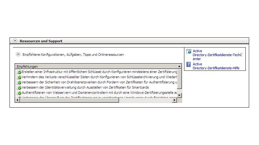 Hilfreich: Im Bereich Ressourcen und Support werden wichtige Hinweise für eine optimierte Konfiguration der Zertifikatsdienste geliefert.