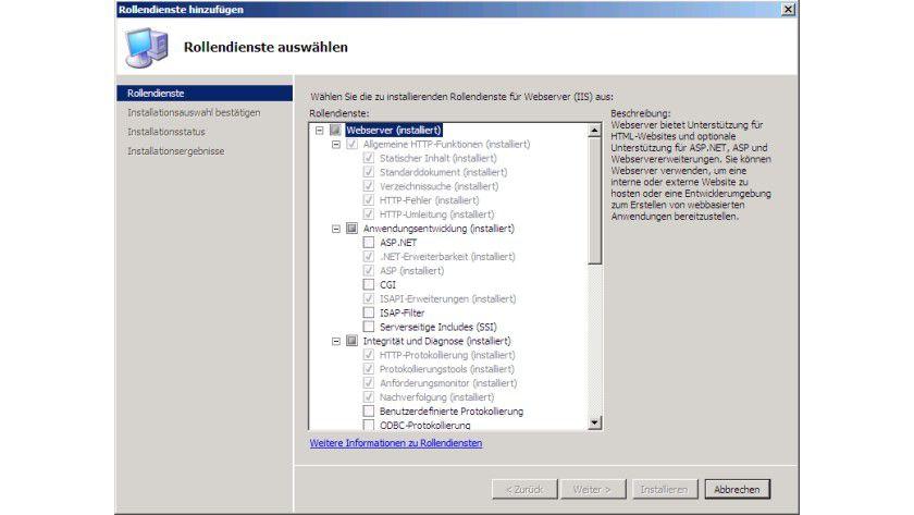 Strukturiert: Microsoft hat die Rollendienste der IIS 7 in verschiedene Gruppen zusammengefasst.