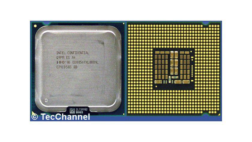 Core 2 Extreme QX9770: Der 45-nm-Quad-Core-Prozessor für den Sockel LGA775 arbeitet mit 3,2 GHz Taktfrequenz und einem FSB1600. Den vier Kernen stehen insgesamt 12 MByte L2-Cache zur Verfügung.