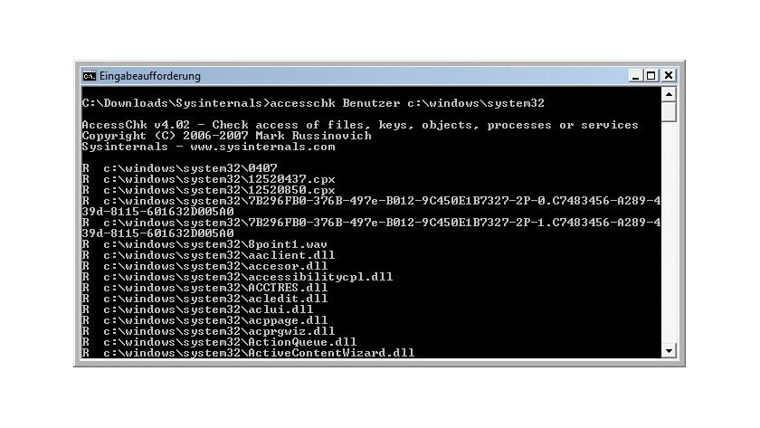Überblick: Mit AccessChk kann man sich einen schnellen Überblick über die Zugriffsberechtigungen ausgewählter Benutzer oder Benutzergruppen auf Objekte im System verschaffen.