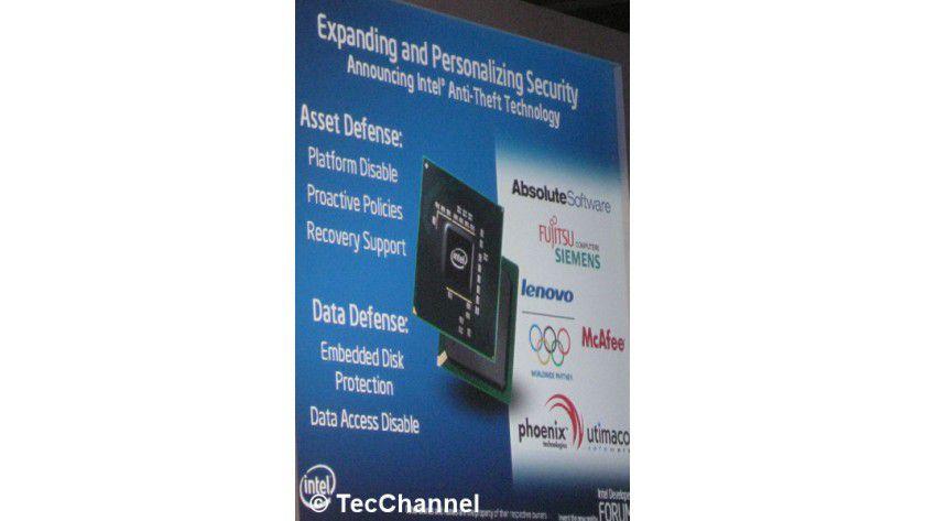 Anti-Theft-Technologie: Ab dem vierten Quartal 2008 soll Anti-Theft im Fall von Notebook-Diebstahl Schutz vor dem Zugriff auf die Daten bieten.