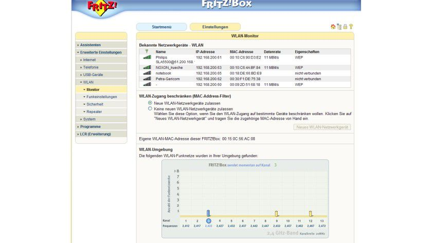Details: Die Fritz!Box sendet auf Kanal 3, die weiteren Geräte benutzen die Kanäle 9 und 12.