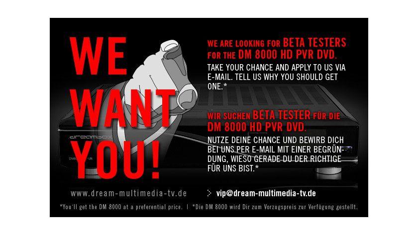 Marketing-Gag oder reale Chance: Dream Multimedia sucht Beta-Tester für den neuen HDTV-PVR DM8000.
