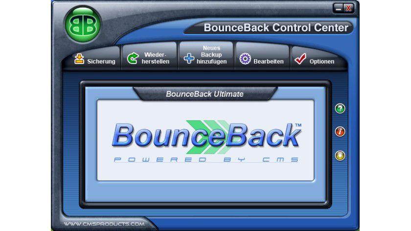 Steuerzentrale: Mit dem BouceBack Control Center lassen sich alle Funktionen der Backup-Software bequem steuern.