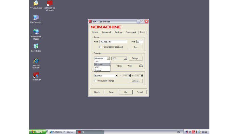 Andere Protokolle: Der NX Client kann sich via RDP auch zu Windows-Servern verbinden und unterstützt das VNC-Protokoll.