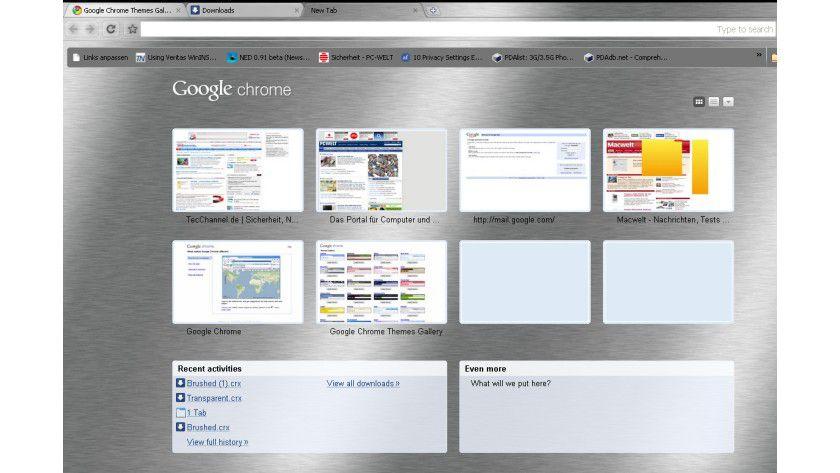 Google Brushed Iron: Auch die Ansicht der häufig genutzten Seiten ändert sich im neuen Google Chrome.