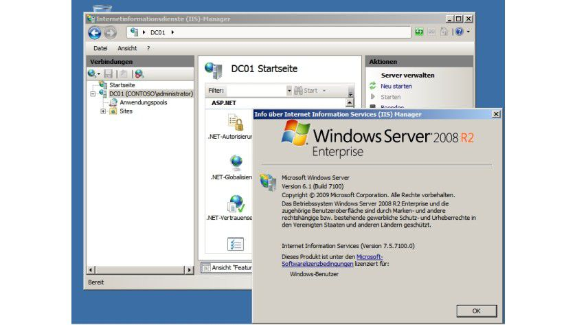 IIS: Windows Server 2008 R2 enthält die Internetinformationsdienste 7.5 mit verbesserten Tools.