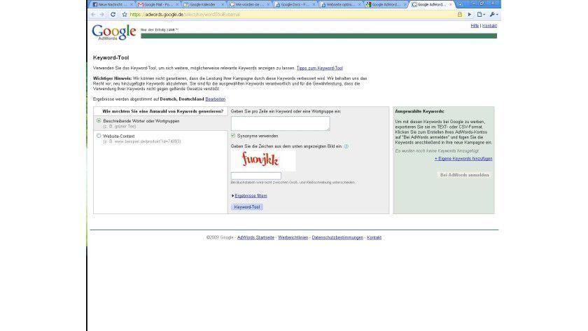 Google-Adwords-Keyword-Tool: eines der wichtigsten Werkzeuge für die Keyword-Analyse.