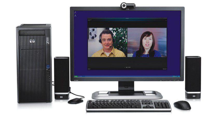 HP SkyRoom: Bis zu vier Personen können sich mit der Videokonferenz-Lösung austauschen. (Quelle: Hewlett Packard)