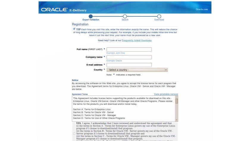 Oracle Linux: Erst registrieren, dann downloaden.
