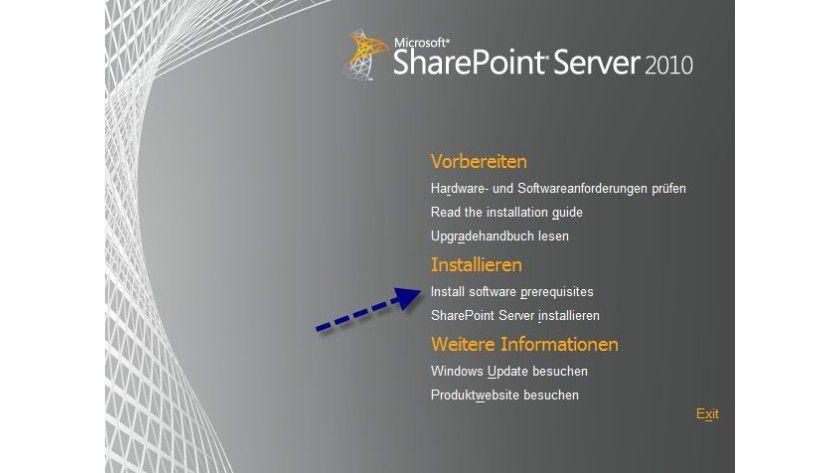 Von Anfang an: Startbildschirm der SharePoint-Installation.