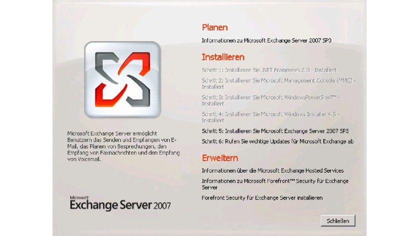 Im Verbund: Installation eines neuen Exchange-Servers direkt mit dem Exchange 2007 SP3.
