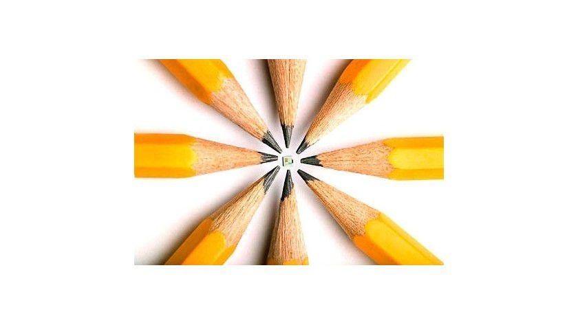Ziemlich klein: Der Memory Spot liegt im Zentrum der Bleistiftspitzen.