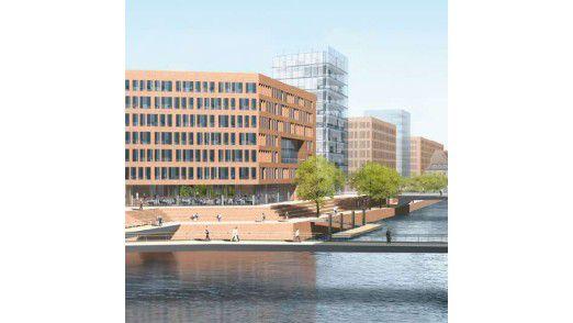 Die neue Zentrale vom Germanischen Lloyd am Hamburger Hafen mit Blick auf die Elbe (Grafik: Germanischer Lloyd)