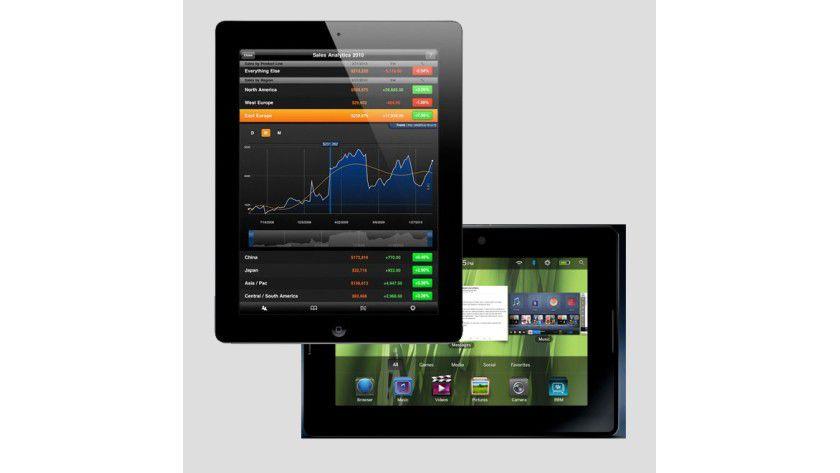 Im Unternehmenseinsatz harte Gegner: iPad 2 von Apple (vorne) und das Playbook von RIM.