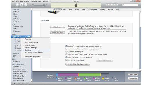Sicherung erstellen: Die Backup-Funktion ist Teil von iTunes.