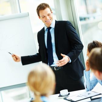 Meeting, Gespräch, Manager, jung, Mann, Präsentation, Chef