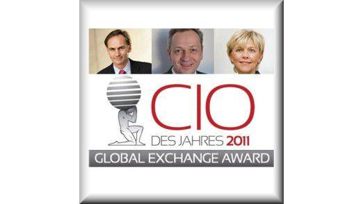 Die Gewinner des Global Exchange Award sind: Platz 1: Patrick Naef (links), Emirates Group; Platz 2: Gerald Höhne, SMA Solar Technology AG und Stefanie Kemp von der Vorwerk & Co KG auf dem 3. Platz.