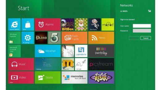 Verschieben mit der Hand möglich: Das neue Metro Interface von Windows 8 eignet sich auch für Touchscreens.