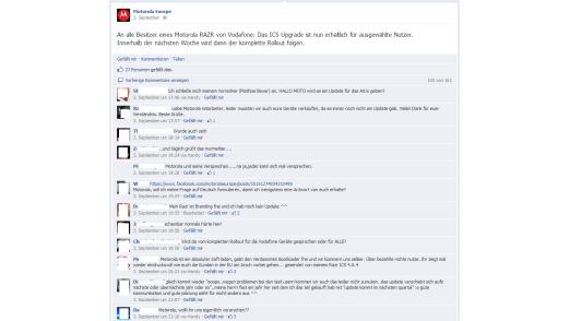 Kritik: Nutzer, die keine Updates erhalten, zeigen ihren Unmut auf Facebook.