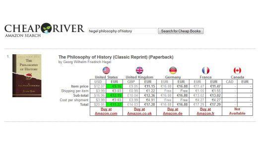 Bei CheapRiver kann man bequem vergleichen, auf welcher Amazon-Seite ein englisches Buch billiger ist (einschließlich Versandkosten).