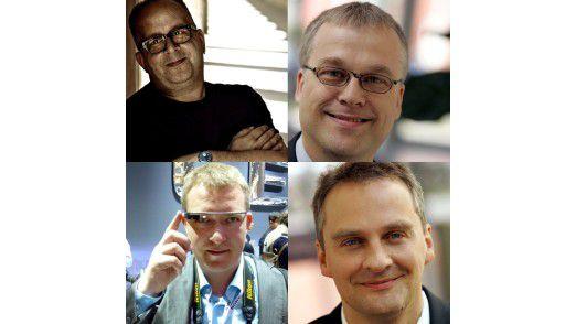 Für Sie bloggen (oben, von links): Thomas Cloer von der Computerwoche und Bernhard Haluschak vom TecChannel. Untere Reihe von links: Moritz Jäger, Freier Journalist und Christian Vilsbeck vom TecChannel.