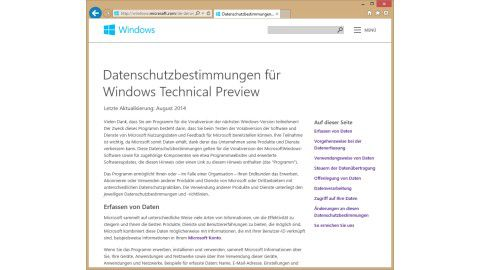 Windows 10 Technical Preview: Windows 10 Technical Preview und der Datenschutz - Foto: Eric Tierling